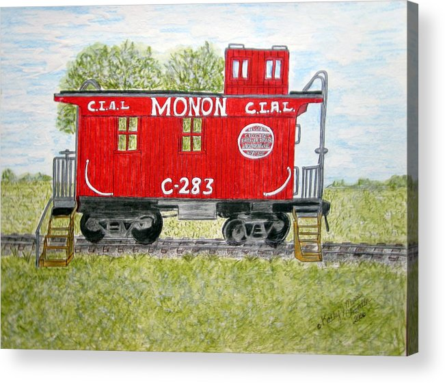Monon Acrylic Print featuring the painting Monon Wood Caboose Train C 283 1950s by Kathy Marrs Chandler