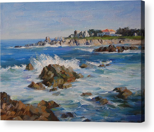 Landscape Acrylic Print featuring the painting Monterey Bay by Kelvin Lei
