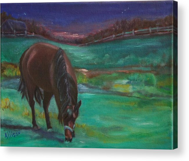 Horse Acrylic Print featuring the painting Moonlight Snack by Stephanie Allison