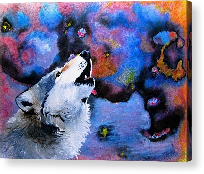 Wolves Acrylic Print featuring the painting Moonsong by Liz Borkhuis