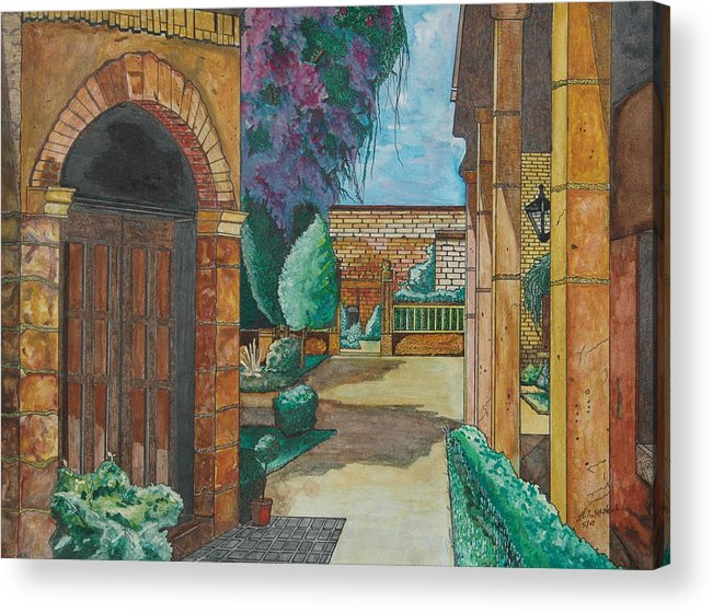 Mexico Acrylic Print featuring the painting Morelia Courtyard by Willie McNeal