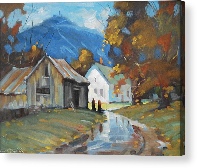 Berkshire Hills Paintings Acrylic Print featuring the painting Morning Chat by Len Stomski