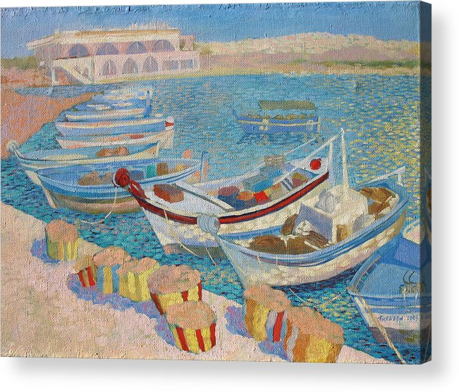 Seascape Acrylic Print featuring the painting Morning On Cyprus .2003 by Natalia Piacheva