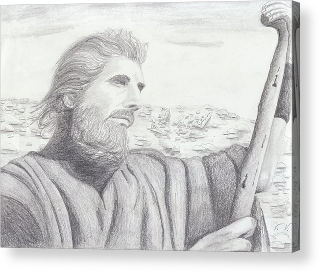 Moses Acrylic Print featuring the drawing Moses by M Valeriano