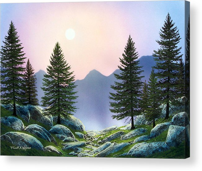 Landscape Acrylic Print featuring the painting Mountain Firs by Frank Wilson