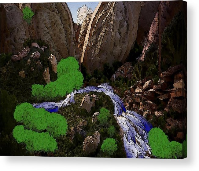 Stones.rocks.mountines.sky.cloud.bushes.river.water.flow. Acrylic Print featuring the digital art Mountine River by Dr Loifer Vladimir