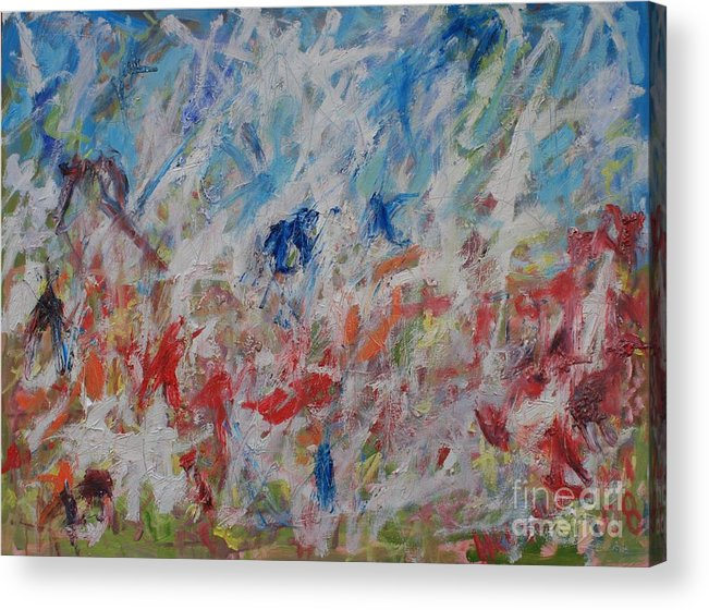 Abstract Acrylic Print featuring the painting My Garden In Venice by Michael Henderson
