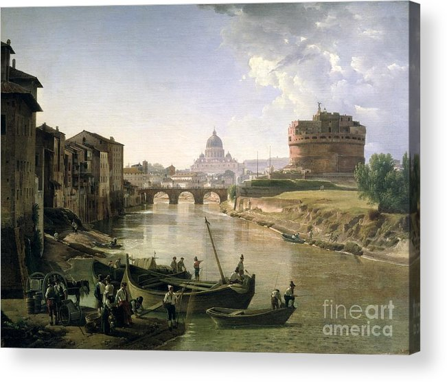 River Tiber Acrylic Print featuring the painting New Rome With The Castel Sant Angelo by Silvestr Fedosievich Shchedrin