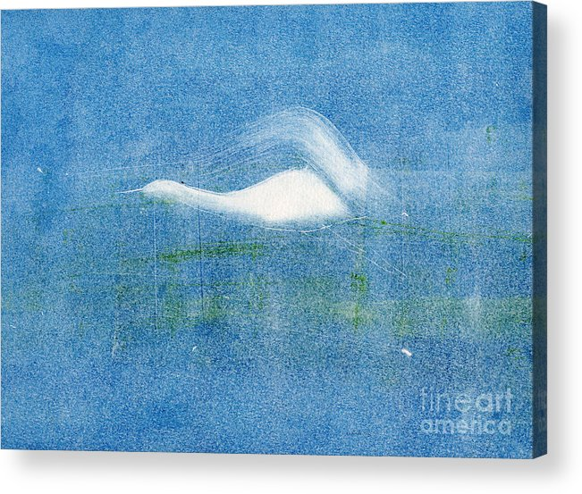 A Crane Flying At Night-original Monotype Print Acrylic Print featuring the painting Night Flight by Mui-Joo Wee