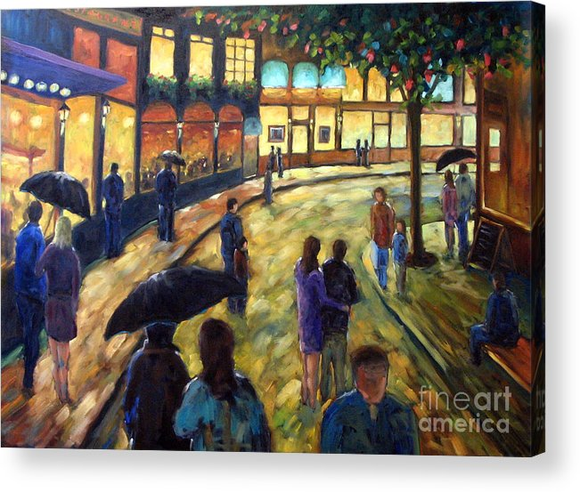 Cityscape Acrylic Print featuring the painting Night On The Town by Richard T Pranke