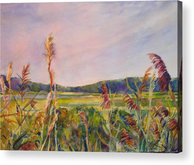 Landscape Acrylic Print featuring the painting North Fork by Joyce Kanyuk