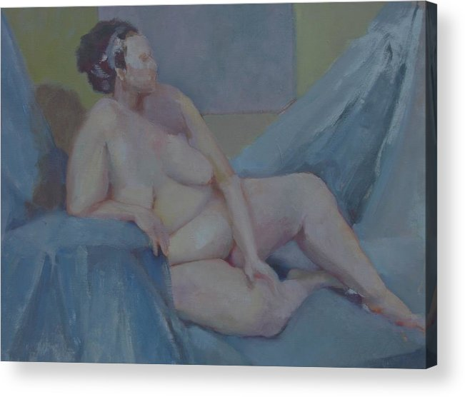 Tasteful Female Nude Acrylic Print featuring the painting Nude In Blue        Copyrighted by Kathleen Hoekstra