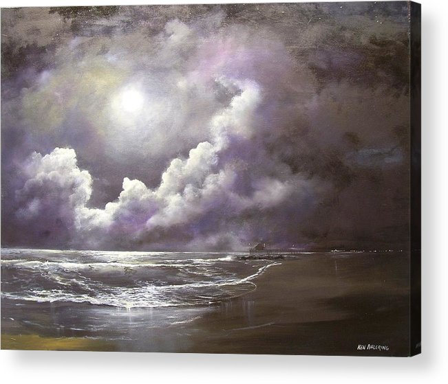 Ocean Acrylic Print featuring the painting Ocean Grove Moon by Ken Ahlering