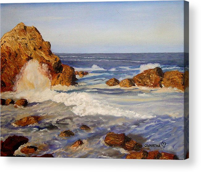Seascape Acrylic Print featuring the painting Ocean Rock by Quwatha Valentine