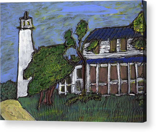 Light House Acrylic Print featuring the painting Ocracoke Island Light House by Wayne Potrafka