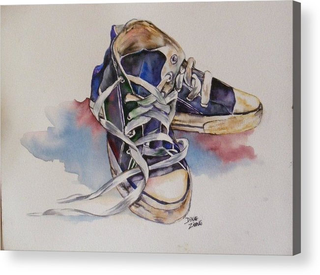 Acrylic Print featuring the painting Old Shoes by Diane Ziemski