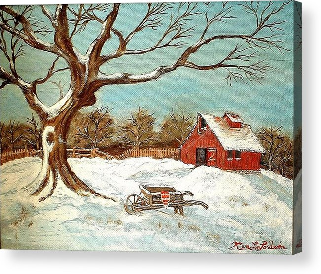 Old Tree Barn Wheelbarrow Snow Winter Painting Acrylic Print featuring the painting Old Tree And Barn by Kenneth LePoidevin