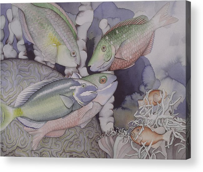 Sea Acrylic Print featuring the painting On The Reef by Liduine Bekman