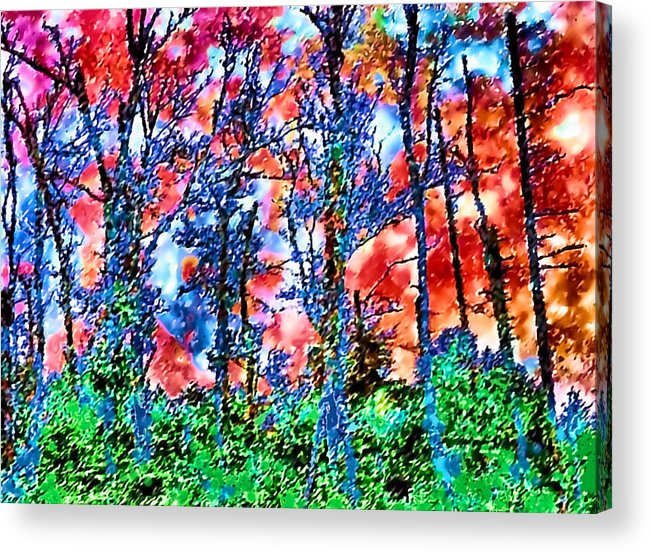Woods Acrylic Print featuring the painting p1050894s Kancamagus on Fire by Ed Immar