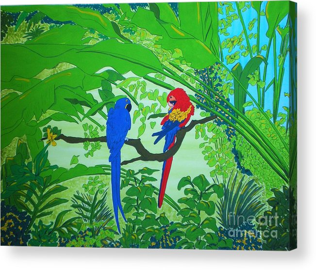 Watercolour Painting Acrylic Print featuring the painting Parrots by Michaela Bautz