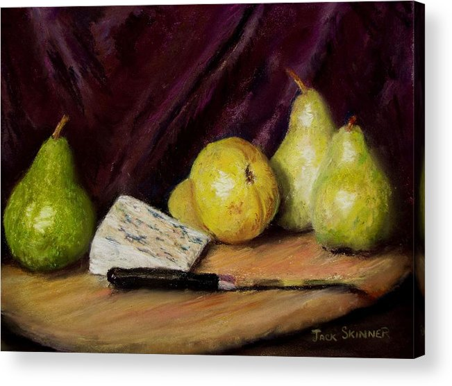 Still Life Acrylic Print featuring the pastel Pears And Cheese by Jack Skinner
