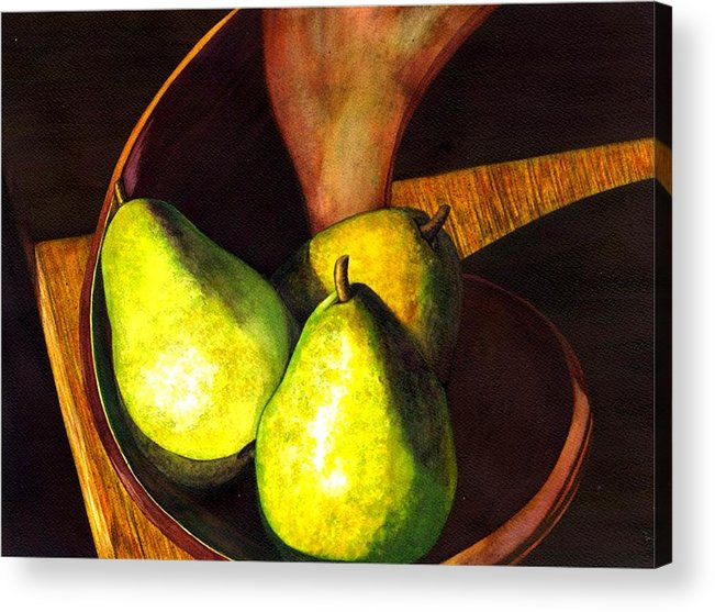 Still Life Acrylic Print featuring the painting Pears No 1 by Catherine G McElroy