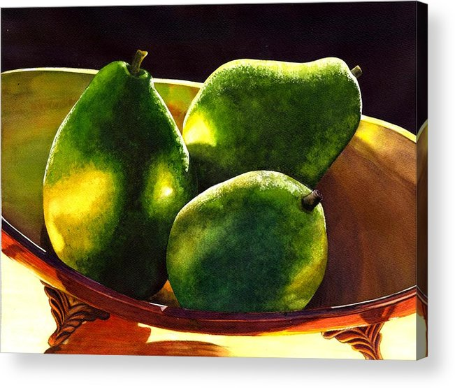 Still Life Acrylic Print featuring the painting Pears No 2 by Catherine G McElroy