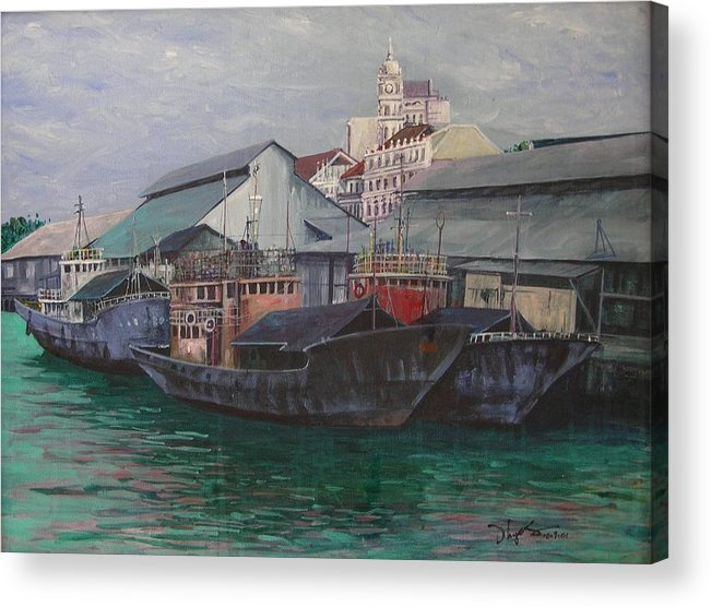 Seascape Acrylic Print featuring the painting Penang Jetty by Richard Ong