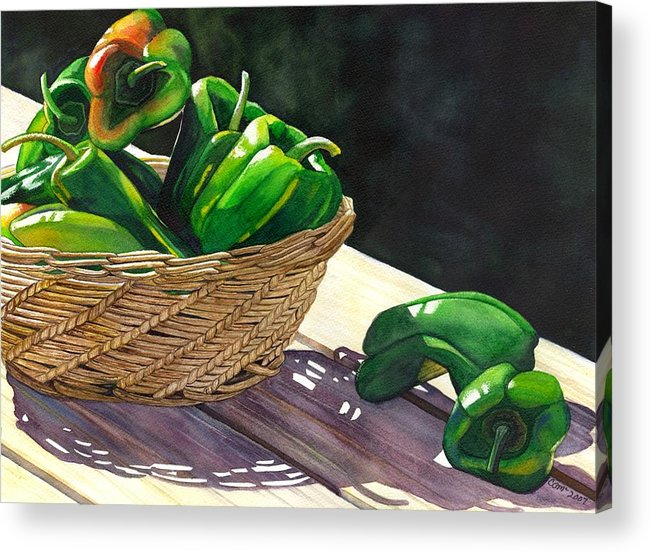 Peppers Acrylic Print featuring the painting Peppers by Catherine G McElroy