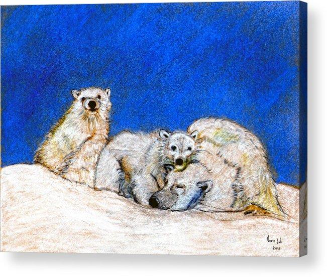Polar Bears Acrylic Print featuring the digital art Polar Bears With Love by Marie Loh
