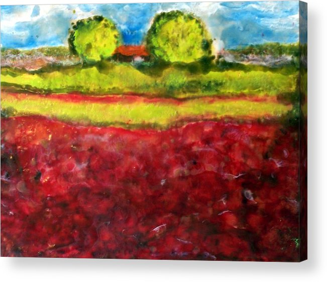 Landscape Acrylic Print featuring the painting Poppy Meadow by Karla Phlypo-Price