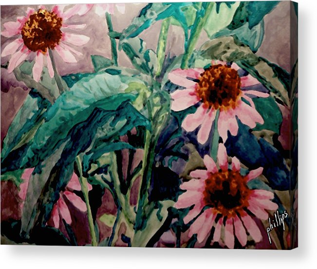 Flower Acrylic Print featuring the painting Pretty In Pink by Jim Phillips