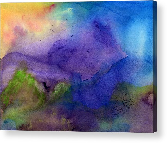 Watercolor Acrylic Print featuring the painting Purple Moon by Stephanie Jolley