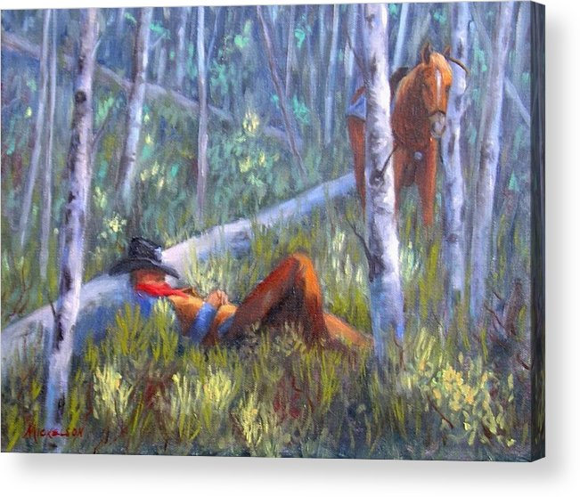 Cowboy Acrylic Print featuring the painting Quiet Siesta by Debra Mickelson