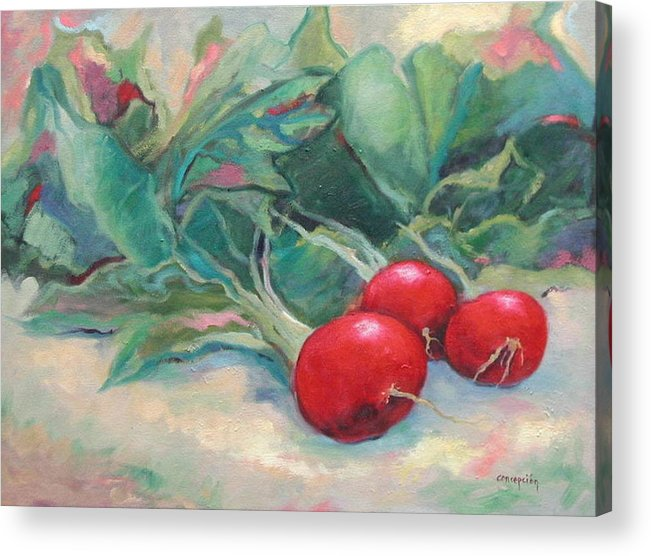 Radishes Acrylic Print featuring the painting Radishes by Ginger Concepcion