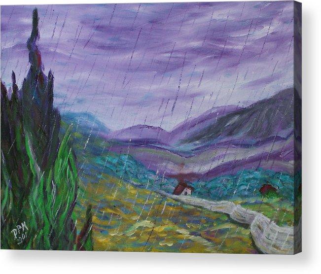Rain Acrylic Print featuring the painting Rain by David McGhee