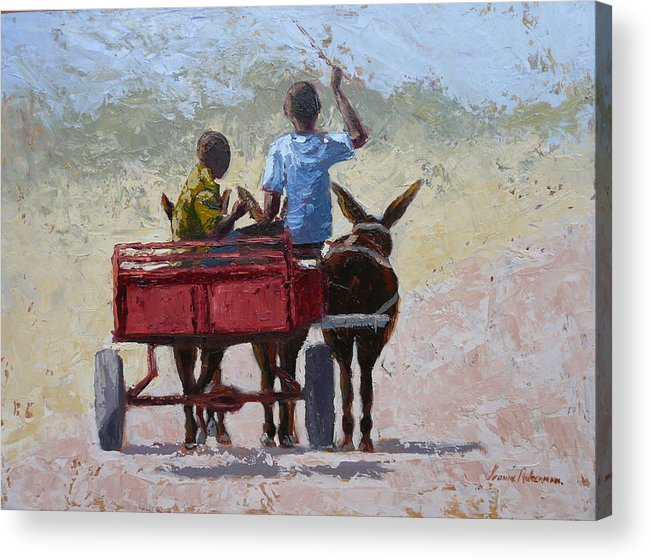 Landscape Acrylic Print featuring the painting Red Cart by Yvonne Ankerman