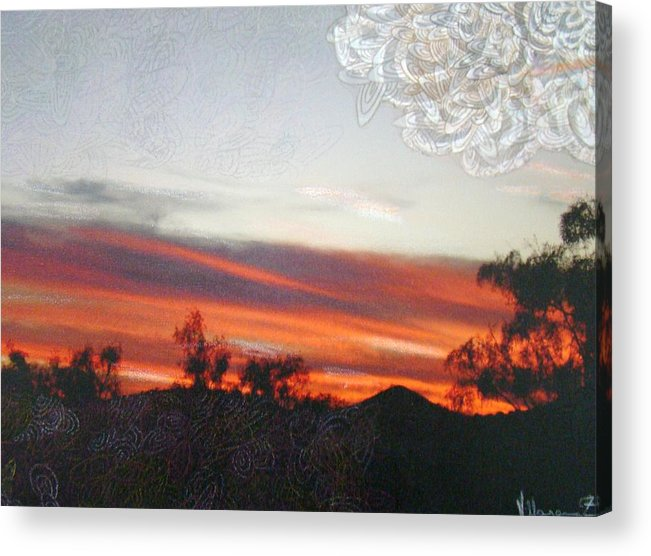Landscape Acrylic Print featuring the mixed media Red Sunset One A by Ana Villaronga