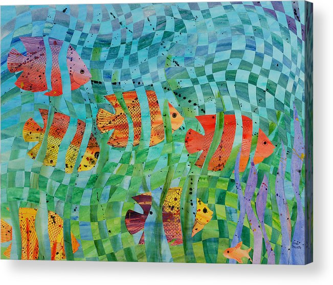 Fish Acrylic Print featuring the painting Reef 1 by Linda L Doucette