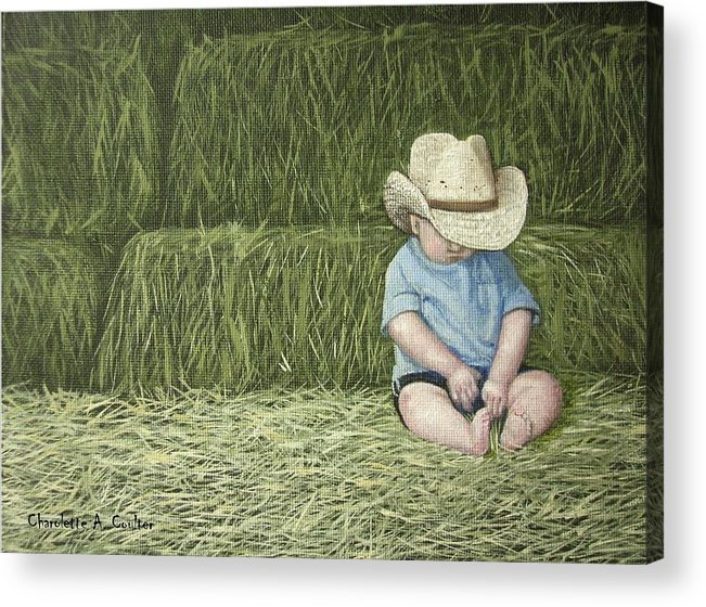 Western Acrylic Print featuring the painting Resting by Charolette A Coulter