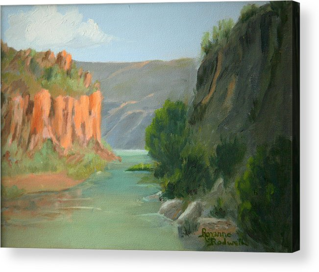 Landscape Acrylic Print featuring the painting Rio Grande Canyon by Roxanne Rodwell