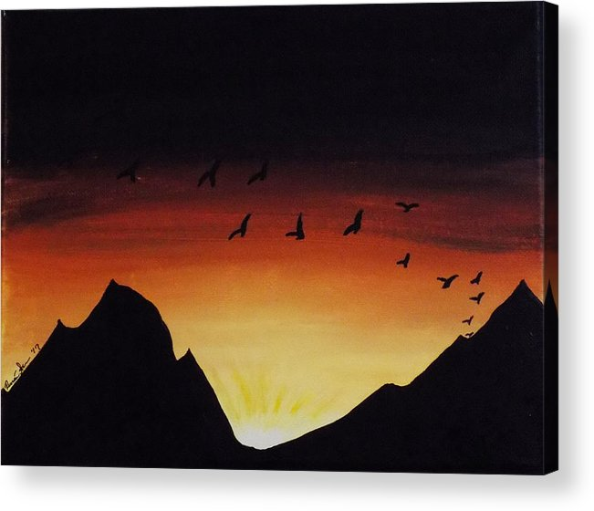 Dawn Acrylic Print featuring the painting Rising With The Dawn by Renae Shore