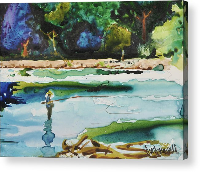 River Acrylic Print featuring the painting River Fishing by Joe Greenwald