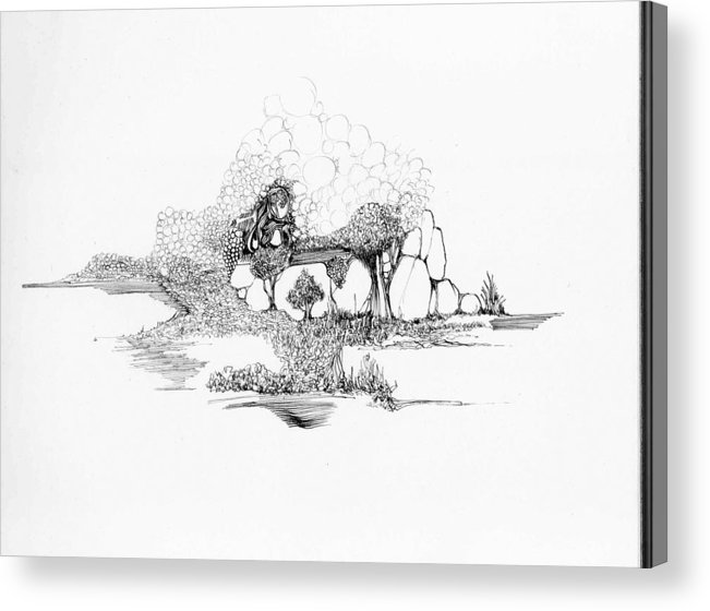 Landscape Acrylic Print featuring the drawing Rocks And Bubbles by Padamvir Singh
