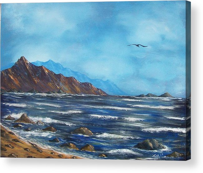 Seascape Acrylic Print featuring the painting Rocky Shores by Tony Rodriguez