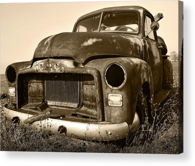 Vintage Acrylic Print featuring the photograph Rusty But Trusty Old Gmc Pickup by Gordon Dean II