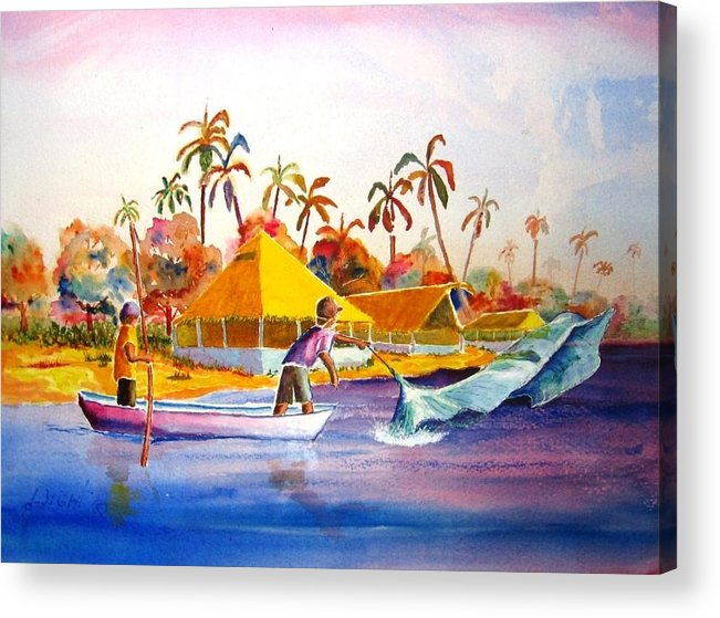 Net Fisherman Acrylic Print featuring the painting Sacraficio by Buster Dight