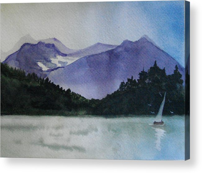 Sailing Acrylic Print featuring the painting Sailing On The Lake by Dottie Briggs