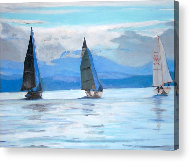 Boat Acrylic Print featuring the painting Sailing Race by Teresa Dominici