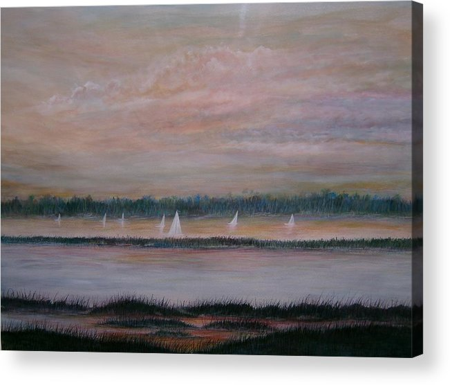 Sailboats; Marsh; Sunset Acrylic Print featuring the painting Sails In The Sunset by Ben Kiger